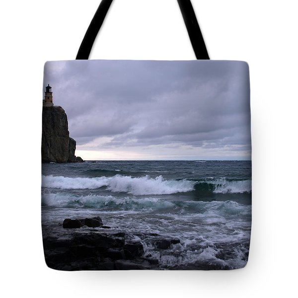 Rough Surf At Split Rock Tote Bag by James Peterson