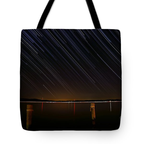 Round Bay Startrails Tote Bag by Benjamin Reed