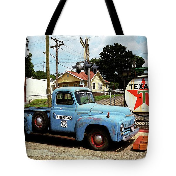 Route 66 - Gas Station With Watercolor Effect Tote Bag by Frank Romeo