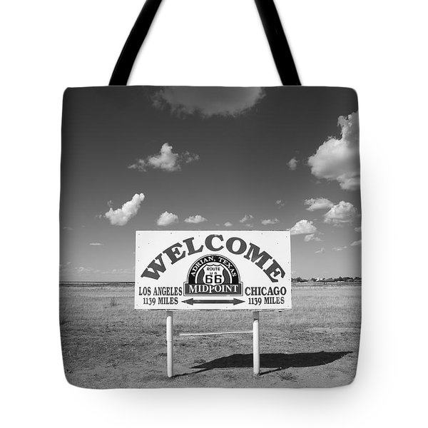Route 66 - Midpoint Sign Tote Bag by Frank Romeo