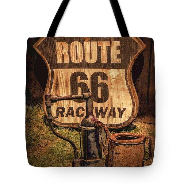 Route 66 Raceway Tote Bag by Priscilla Burgers