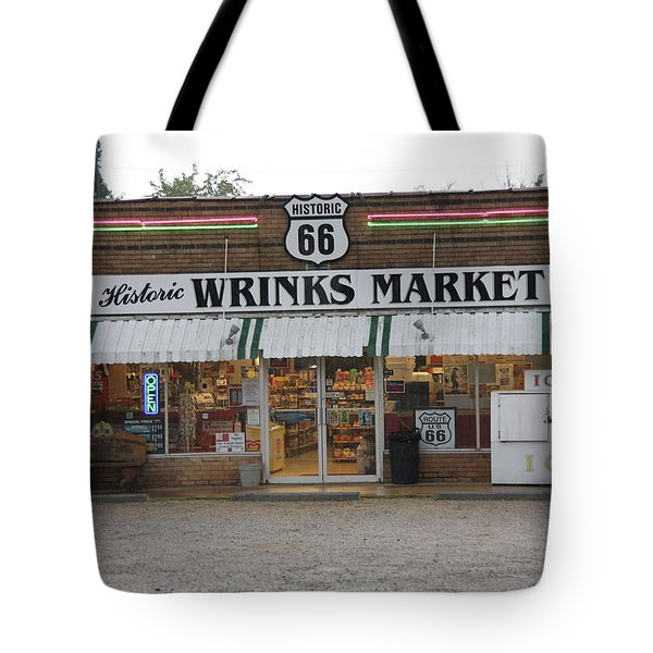 Route 66 - Wrink's Market Tote Bag by Frank Romeo