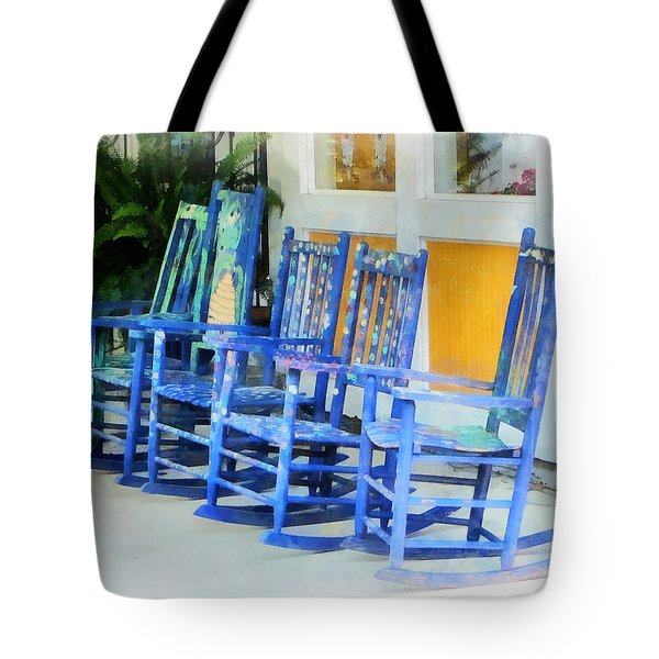 Row Of Blue Rocking Chairs Tote Bag by Susan Savad