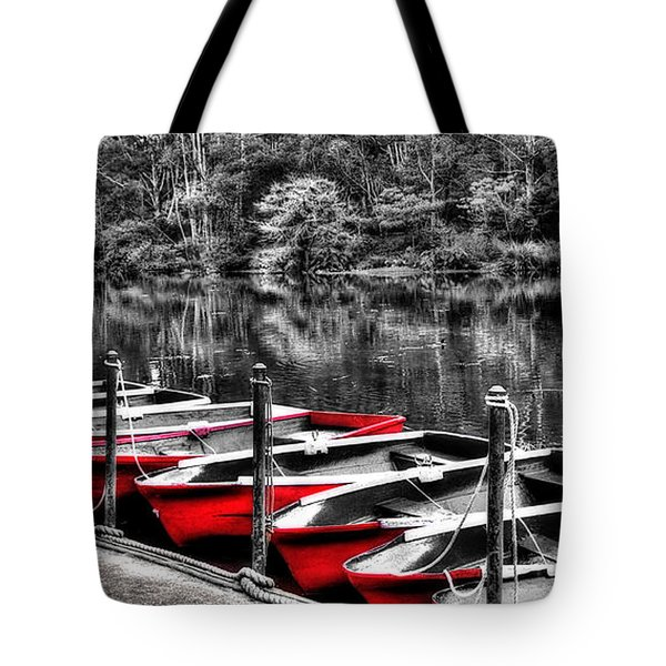 Row of Red Rowing Boats Tote Bag by Kaye Menner