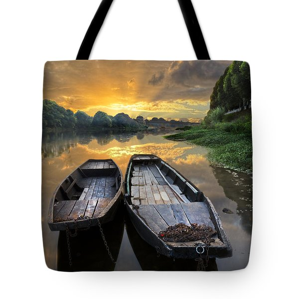 Rowboats on the River Tote Bag by Debra and Dave Vanderlaan