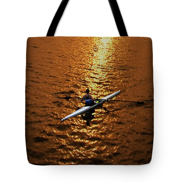 Rowing Into The Sunset Tote Bag by Bill Cannon