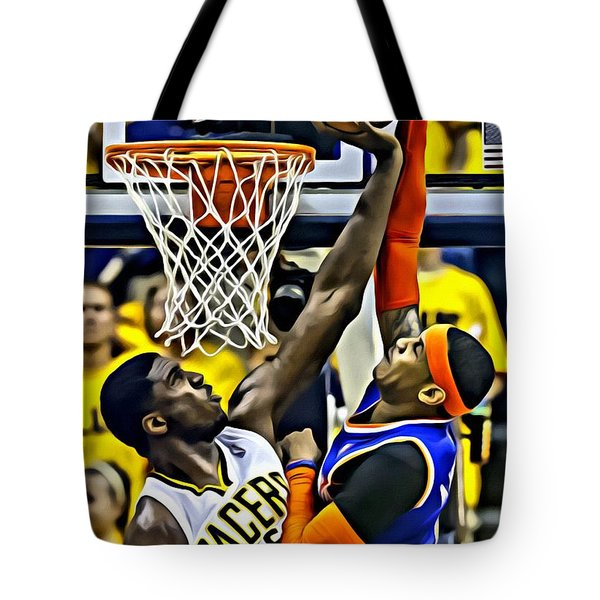 Roy Hibbert Vs Carmelo Anthony Tote Bag by Florian Rodarte