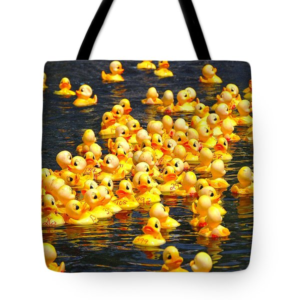 Rubber Duck Race Tote Bag by Allen Beatty