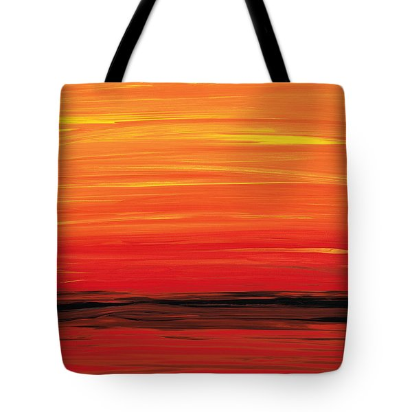 Ruby Shore - Red And Orange Abstract Tote Bag by Sharon Cummings