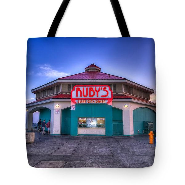 Ruby's Diner On The Pier Tote Bag by Spencer McDonald