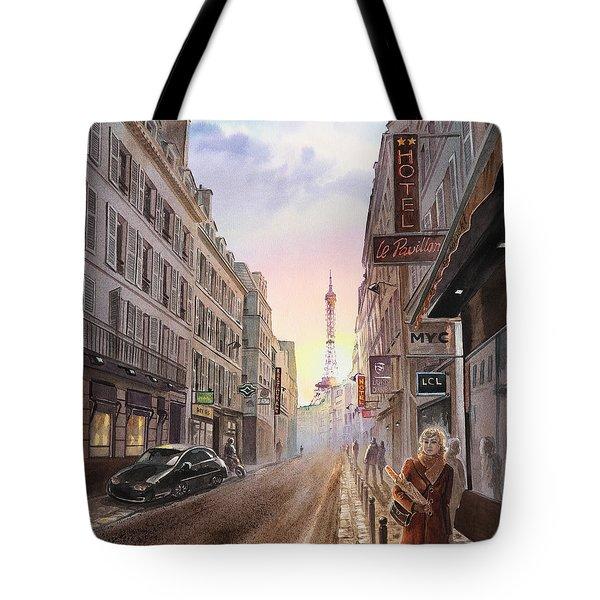 Rue Saint Dominique Sunset Through Eiffel Tower   Tote Bag by Irina Sztukowski