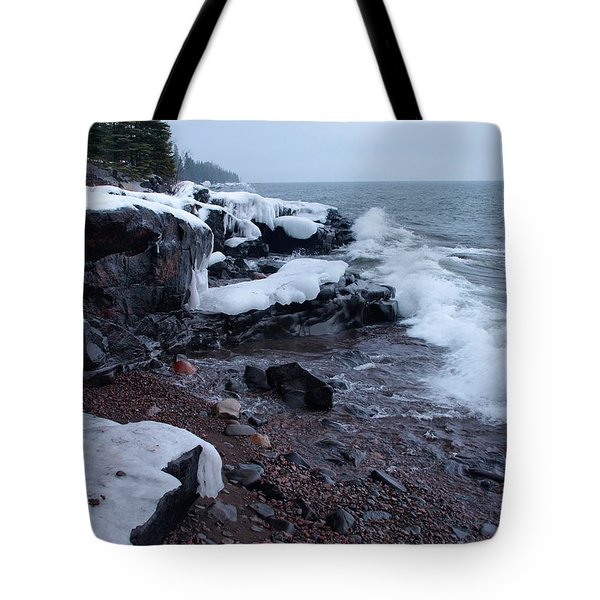 Rugged Shore Winter Tote Bag by James Peterson