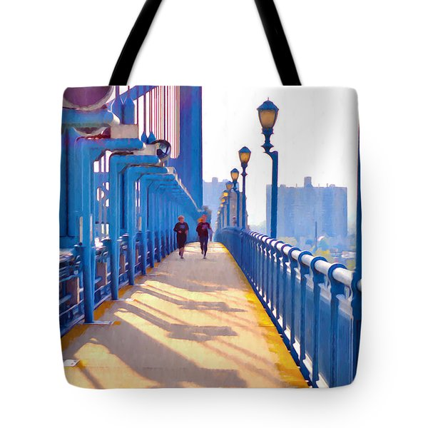 Running Across The Ben Tote Bag by Bill Cannon