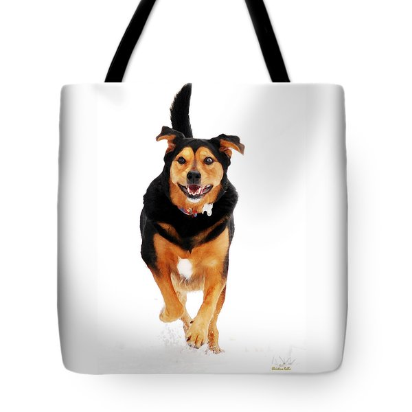 Running Dog Art Tote Bag by Christina Rollo