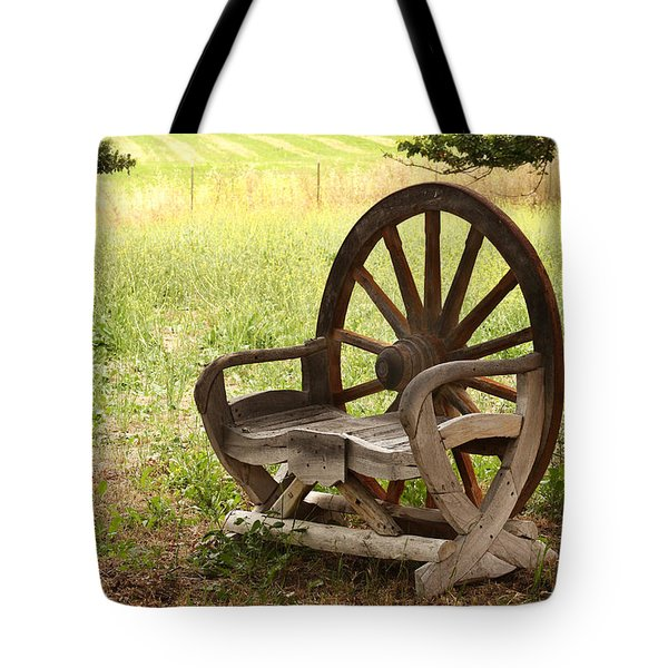 Rural Wagon Wheel Chair Tote Bag by Art Block Collections