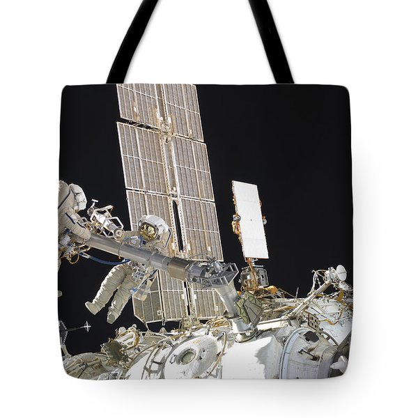 Russian Cosmonauts Working Tote Bag by Stocktrek Images