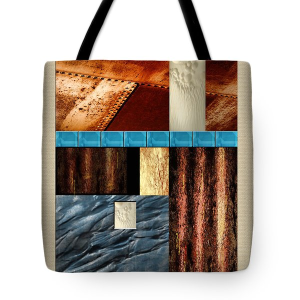 Rust And Rocks Rectangles Tote Bag by Elaine Plesser