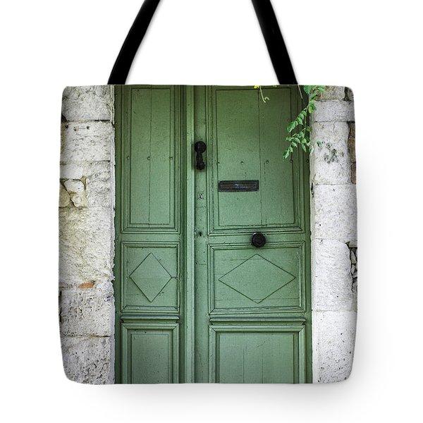 Rustic Green Door With Vines Tote Bag by Georgia Fowler