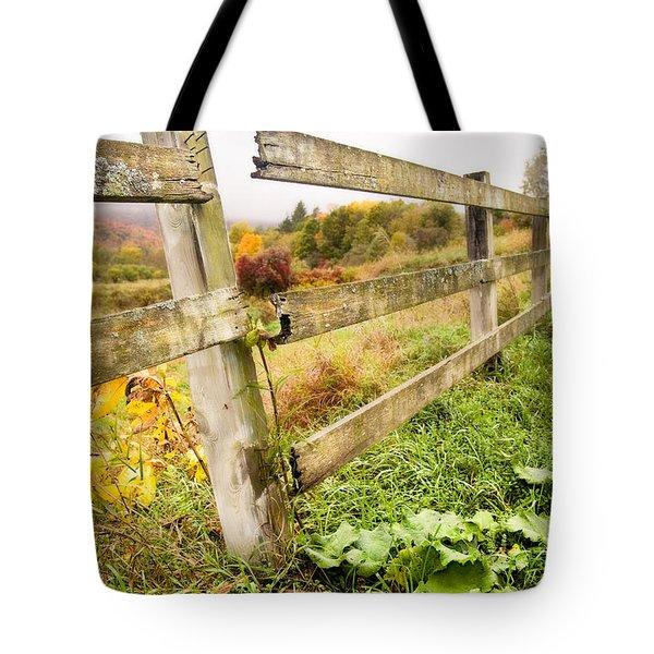 Rustic Landscapes - Broken Fence Tote Bag by Gary Heller