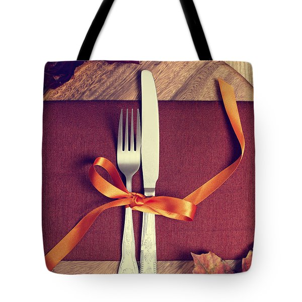Rustic Table Setting For Autumn Tote Bag by Amanda And Christopher Elwell