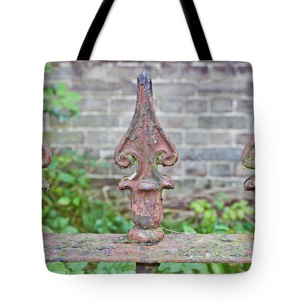 Rusty Fence Spikes Tote Bag by Tom Gowanlock