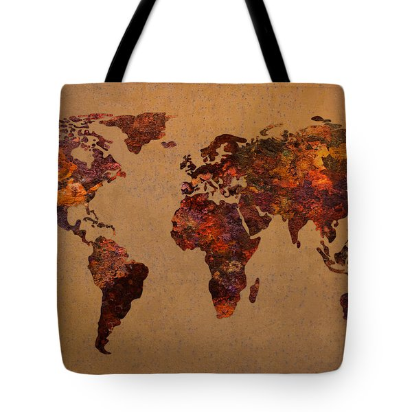 Rusty Vintage World Map on Old Metal Sheet Wall Tote Bag by Design Turnpike