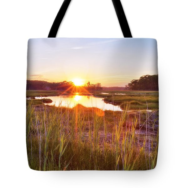 Rye Marsh Sunset Tote Bag by Eric Gendron