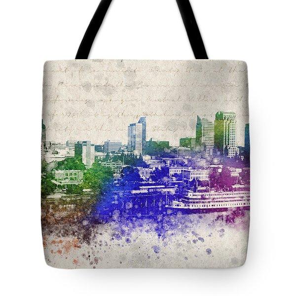 Sacramento City Skyline Tote Bag by Aged Pixel