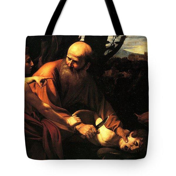 Sacrifice Of Issac Tote Bag by Caravaggio