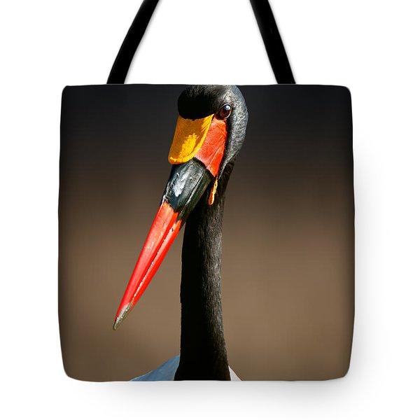 Saddle-billed Stork Portrait Tote Bag by Johan Swanepoel