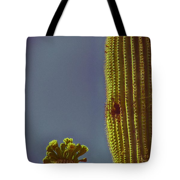 Saguaro In Bloom V2 Tote Bag by Judi FitzPatrick