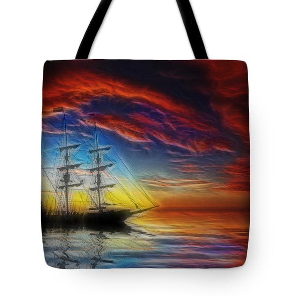Sailboat Fractal Tote Bag by Shane Bechler