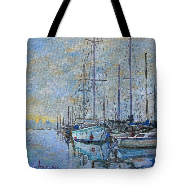 Sailboat In The Evening Fog Tote Bag by Dominique Amendola
