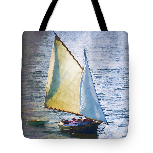 Sailboat Off Marthas Vineyard Massachusetts Tote Bag by Carol Leigh