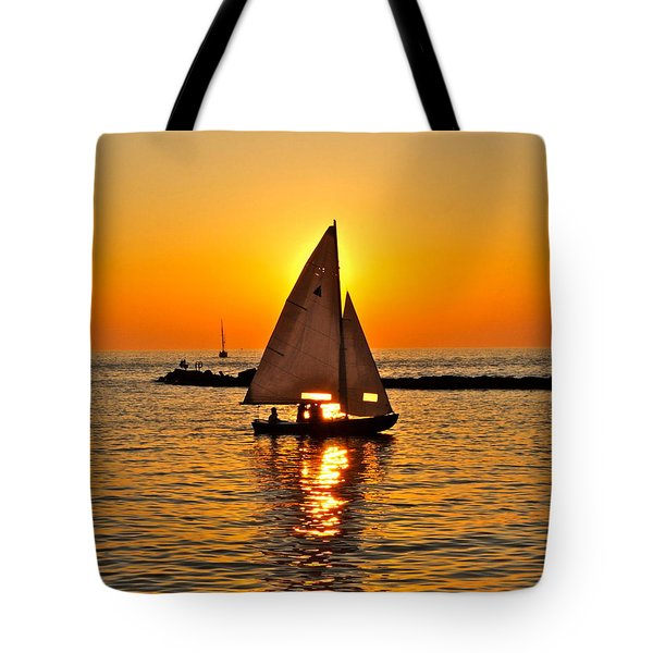 Sailboat Sunset Tote Bag by Frozen in Time Fine Art Photography