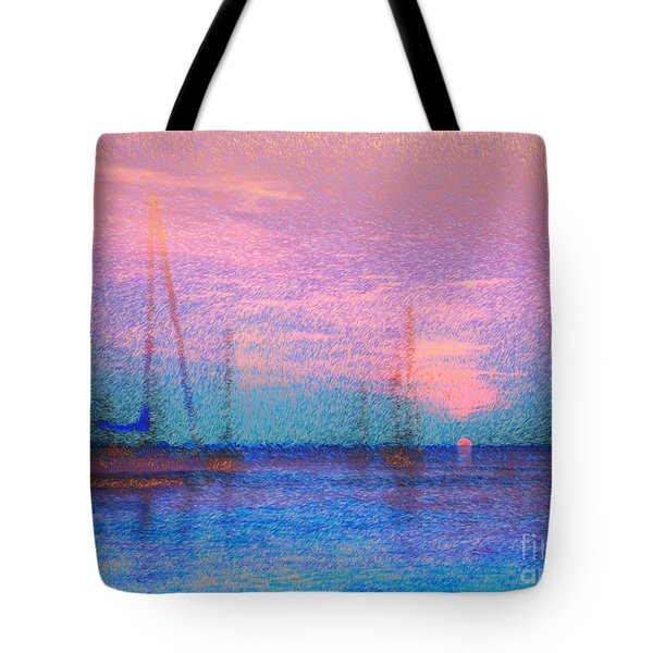Sailboats At Sunset Tote Bag by Jeff Breiman