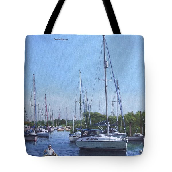 sailing boats at christchurch harbour Tote Bag by Martin Davey