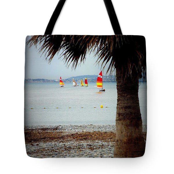 Sailing On A Cloudy Morning Tote Bag by Lainie Wrightson