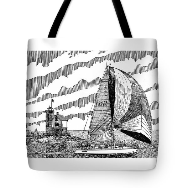 Holland Harbor Lighthouse and spinaker flying sailboat Tote Bag by Jack Pumphrey