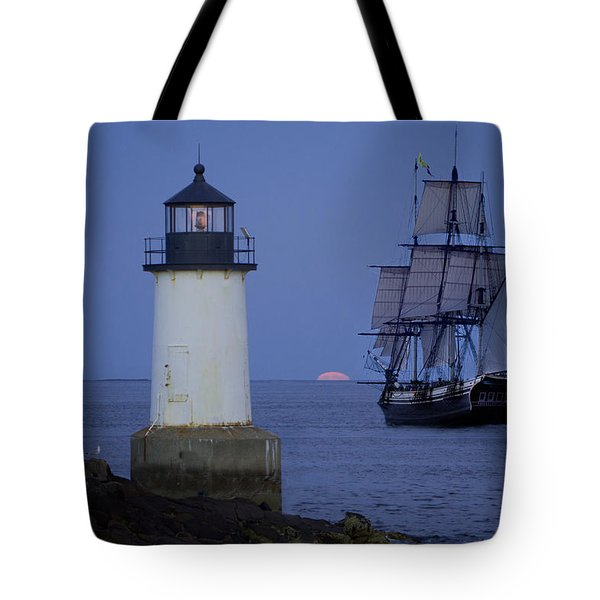 Sailing out for the red moon Tote Bag by Jeff Folger