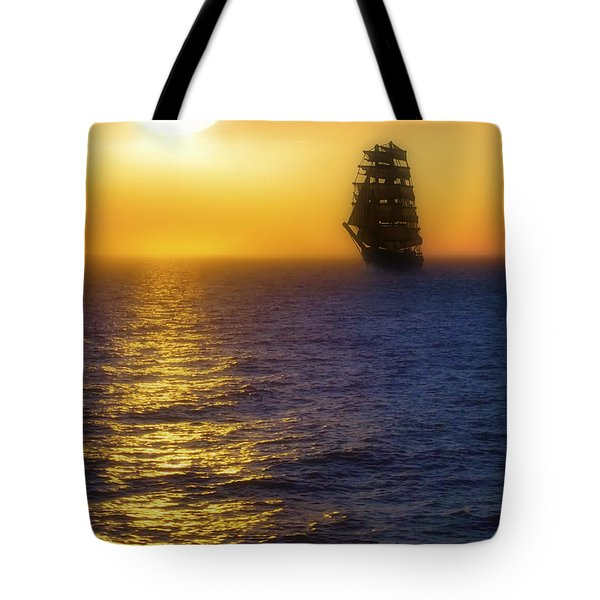 Sailing Out Of The Fog At Sunrise Tote Bag by Jason Politte