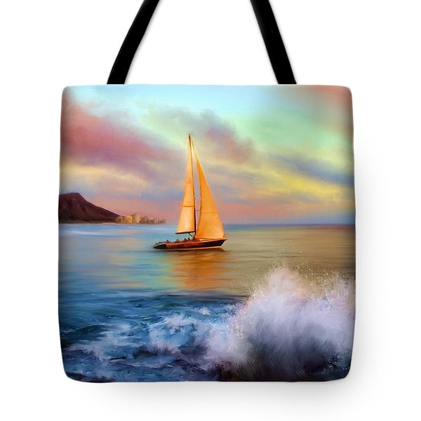 Sailing Past Waikiki Tote Bag by Dale Jackson