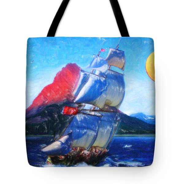 Sailing Towards High Peaks Crayon Tote Bag by MotionAge Designs