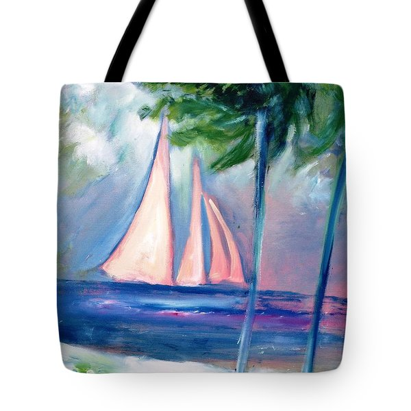 Sails In The Sunset Tote Bag by Patricia Taylor