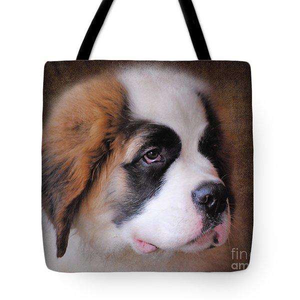 Saint Bernard Puppy Tote Bag by Jai Johnson