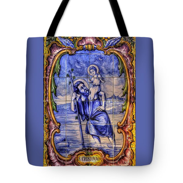 Saint Christopher Carrying The Christ Child Across The River - Near Entrance To The Carmel Mission Tote Bag by Michael Mazaika