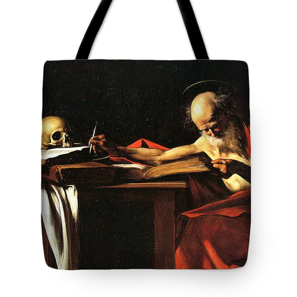 Saint Jerome Writing Tote Bag by Caravaggio