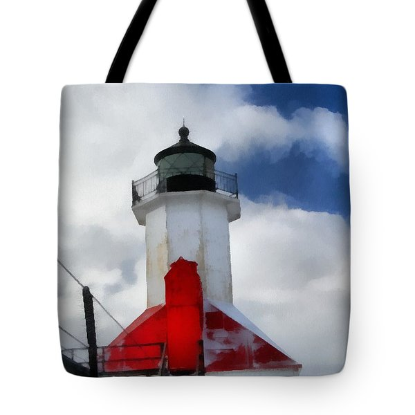 Saint Joseph Michigan Lighthouse Tote Bag by Dan Sproul