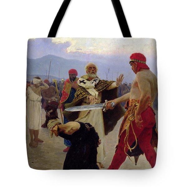 Saint Nicholas Of Myra Saves Three Innocents From Death Tote Bag by Ilya Efimovich Repin