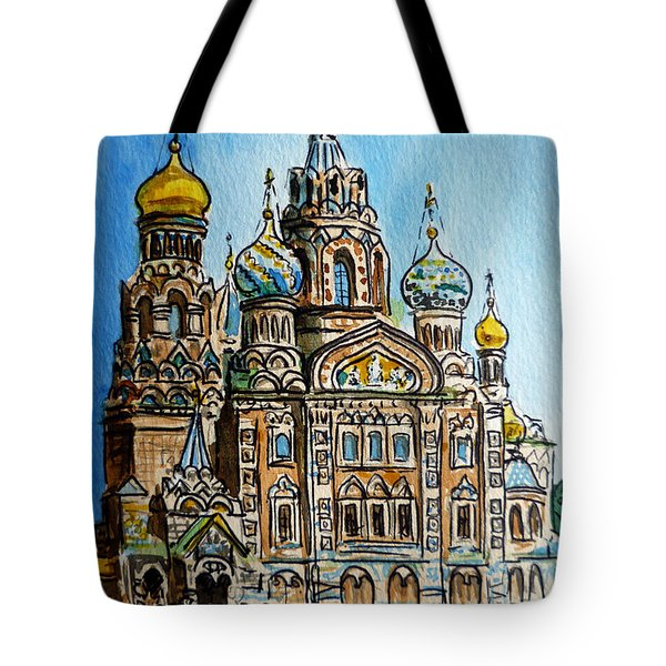 Saint Petersburg Russia The Church Of Our Savior On The Spilled Blood Tote Bag by Irina Sztukowski